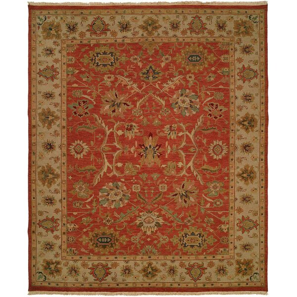 Arora Hand-Woven Red/Beige Area Rug by Meridian Rugmakers