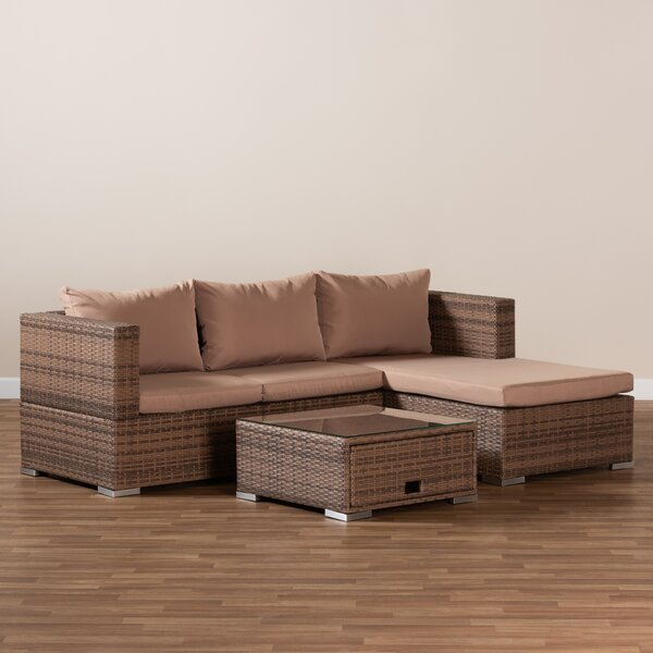 Xanthippe 3 Piece Rattan Complete Patio Set with Cushions by Ebern Designs