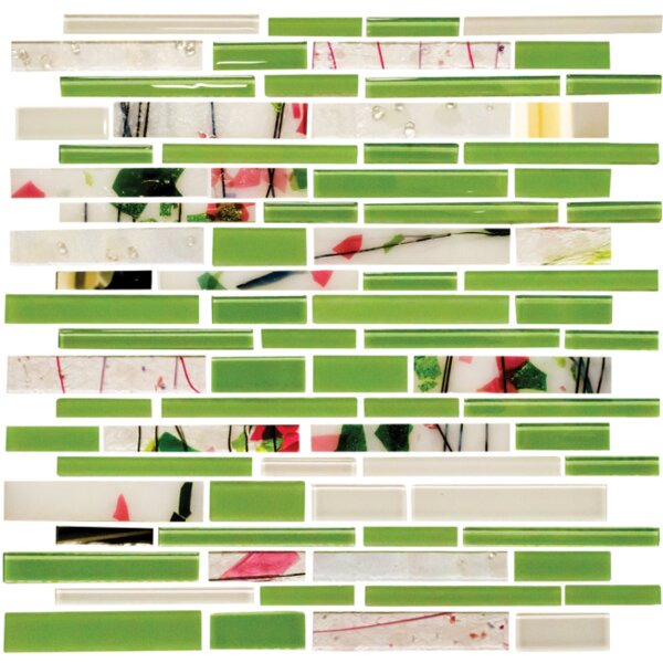 Signature Line Glass Mosaic Tile in Green by Susan Jablon