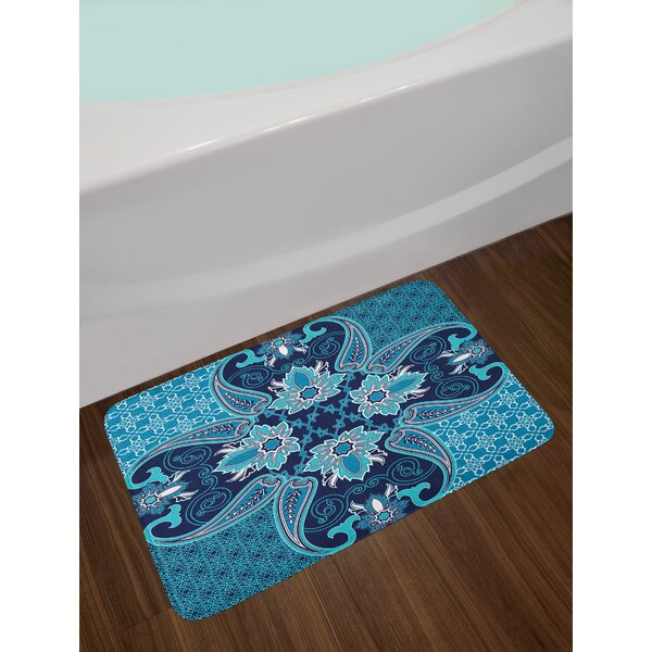 Floral Blue Navy Blue and White Navy Blue Bath Rug by East Urban Home