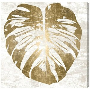 Monstera Gold Leaf Graphic Art on Wrapped Canvas by Mercer41