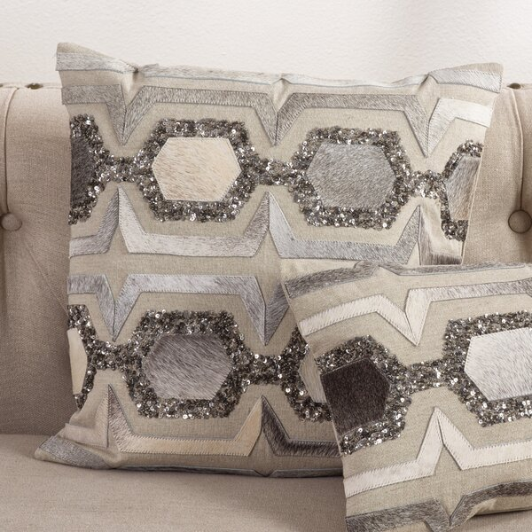 Beaded Hexagon Design Throw Pillow by Saro