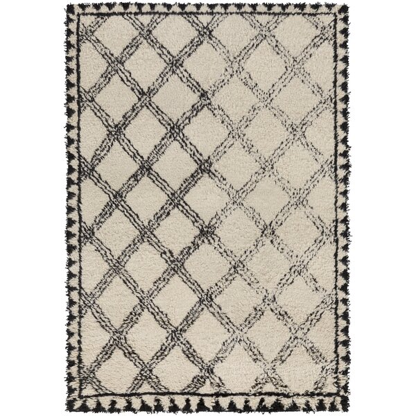 Riad Hand-Knotted Black/Ivory Area Rug by Surya