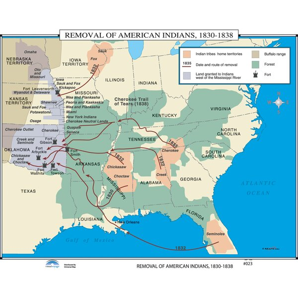 U.S. History Wall Maps - Removal of American Indians by Universal Map
