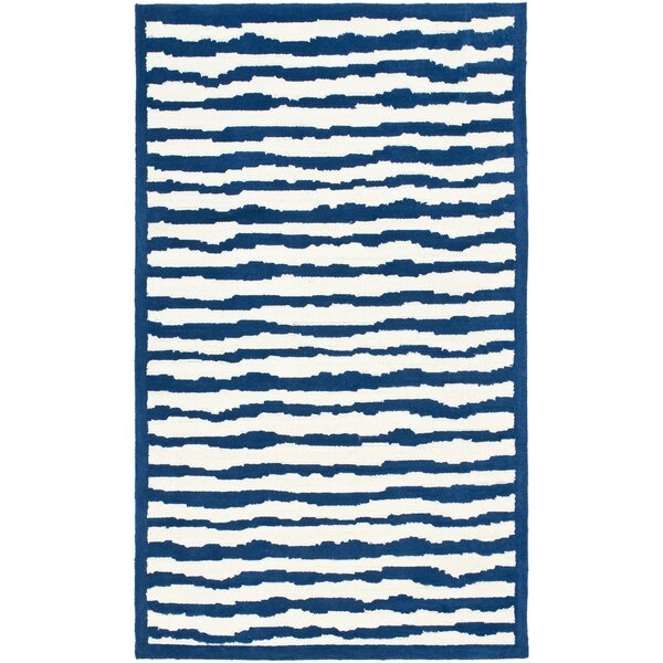 Claro Striped Ivory / Blue Rug by Harriet Bee