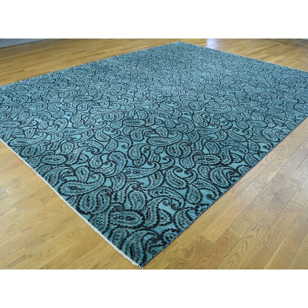 One-of-a-Kind Bridgton Paisley Design Dense Weave Art Handwoven Teal Silk Area Rug by Isabelline