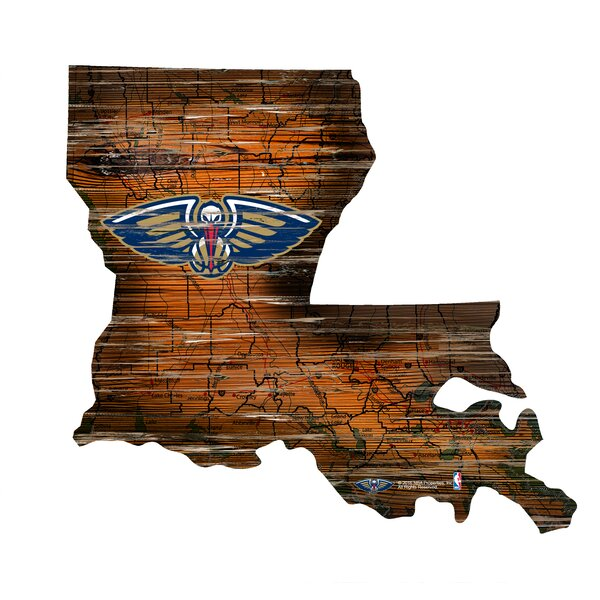 NBA Pelicans Distressed State Wall Décor by Fan Creations