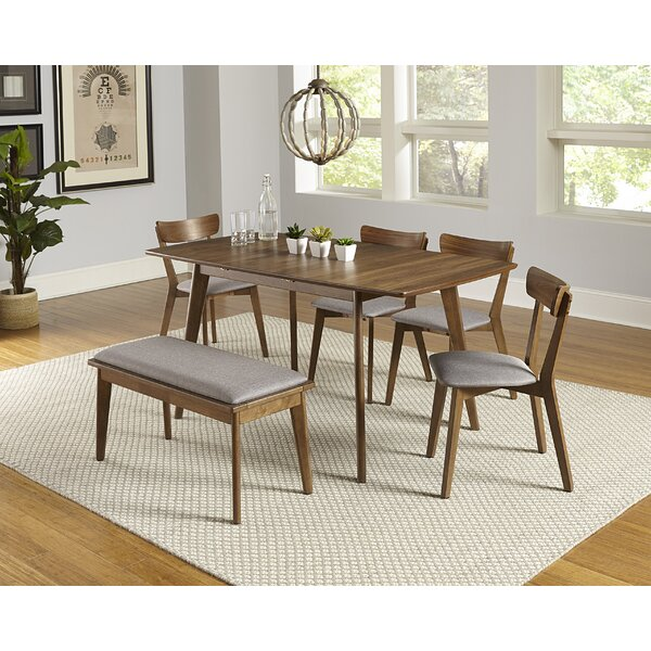 Rockaway 6 Piece Extendable Solid Wood Dining Set by Bungalow Rose Bungalow Rose