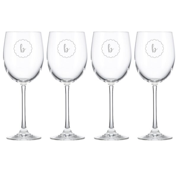 Navy Scallop Tuscany Monogram Chardonnay 12 Oz. White Wine Glass (Set of 4) by Lenox