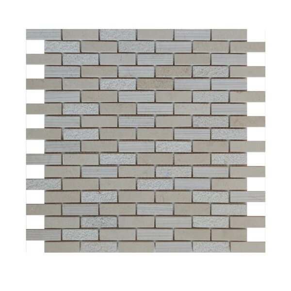 0.63 x 2 Natural Stone Mosaic Tile in Crema Marfil by QDI Surfaces