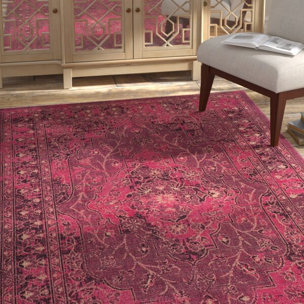 Port Laguerre Fuchsia/Black Area Rug by Bungalow Rose