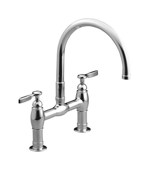 Parq Pull Down Touch Bridge Faucet with Side Spray and MasterClean™ by Kohler