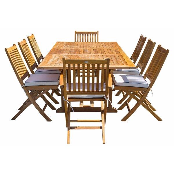 Vogel 9 Piece Teak Sunbrella Dining Set with Sunbrella Cushions Bayou Breeze W001795351