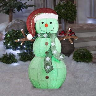 Color Changing Frosted Snowman Lighted Display