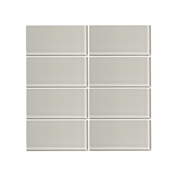 3 x 6 Glass Subway Tile in Cathedral Gray (Set of 6) by Vicci Design