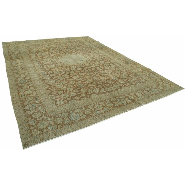 One-of-a-Kind Sule Hand-Knotted Sage Green 9' x 13' Area Rug