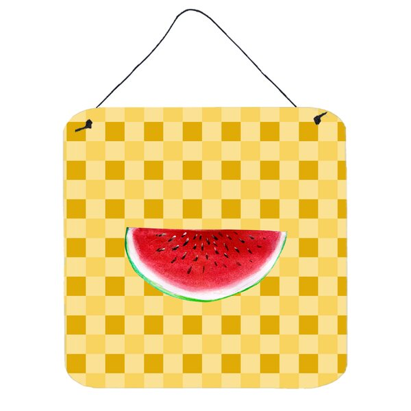 Sliced Watermelon on Basketweave Wall Décor by East Urban Home
