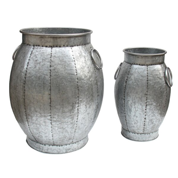 Rayden Galvanized 2 Piece Side Handles Metal Pot Planter Set by Bloomsbury Market