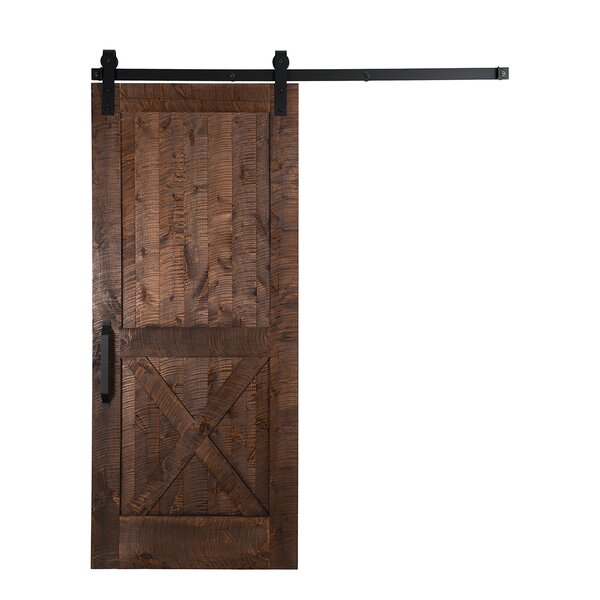 Unassembled Rockwell Solid Wood Panelled Slab Interior Barn Door by Rustica Hardware