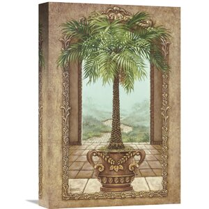 'Classical Palm Tree' by Janet Kruskamp Painting Print on Wrapped Canvas by Global Gallery