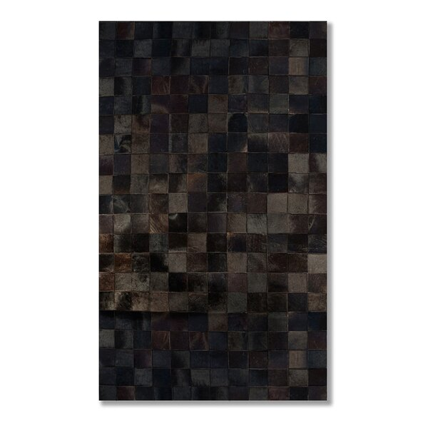 Aayush Four Square Patch Hand-Woven Cowhide Chocolate Solid Area Rug  by 17 Stories