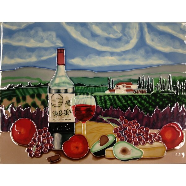 Vineyard 1 Bottle Tile Wall Decor by Continental Art Center
