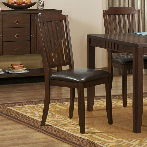 Van Buren Slat Back Side Chair in Brown (Set of 2) by Three Posts Three Posts