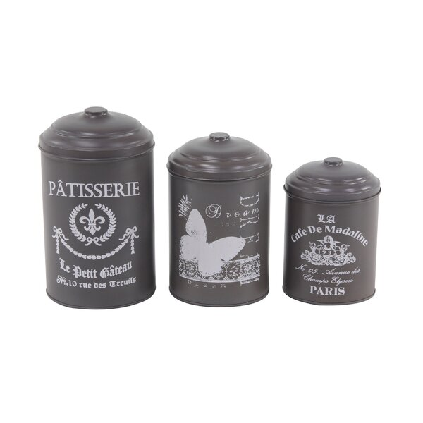 Vicknair Round Tin 3 Piece Kitchen Canister Set by Ophelia & Co.