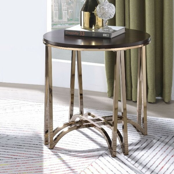 Shelva Contemporary Round Wood and Metal End Table by Everly Quinn Everly Quinn