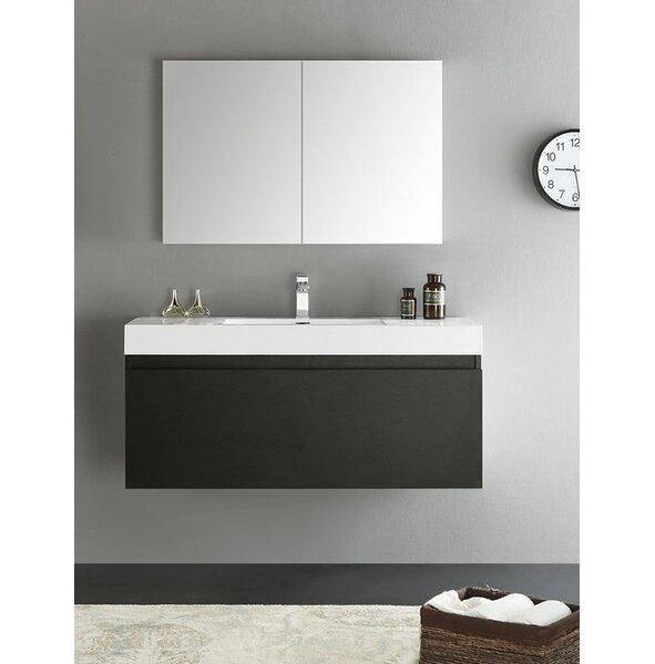 Senza 47 Mezzo Single Wall Mounted Modern Bathroom Vanity Set with Mirror