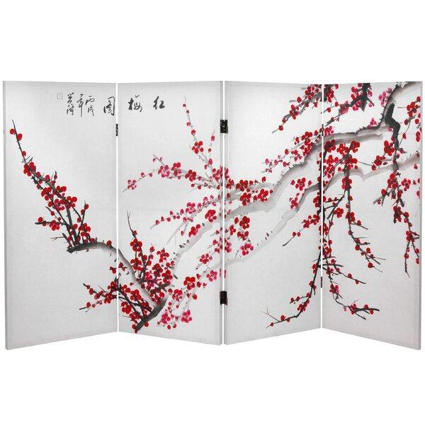 Saenz Plum Blossom 4 Panel Room Divider by Bloomsbury Market