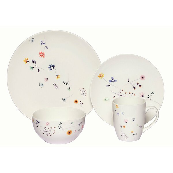 Chane Scattered Wildflowers 16 Piece Porcelain Coupe Dinnerware Set (Set of 4) by Red Barrel Studio