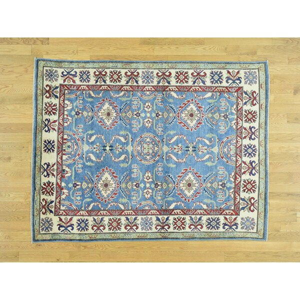 One-of-a-Kind Bechtold Tribal Geometric Design Handwoven Blue Wool Area Rug by Isabelline