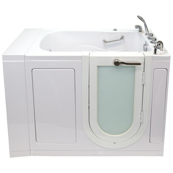 Monaco Hydro Massage Microbubble and Heated Seat 52 x 32 Walk in Whirlpool Bathtub with Thermo Faucet Set by Ella Walk In Baths