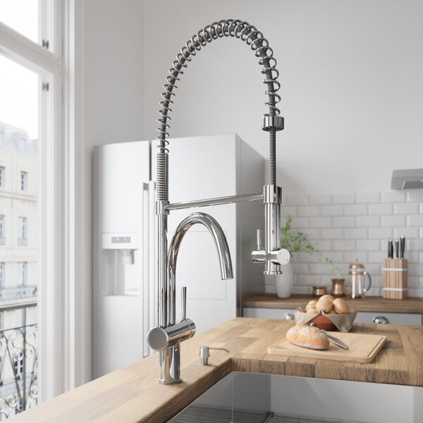 Dresden Pull Down Single Handle Kitchen Faucet with Optional Soap Dispenser by VIGO