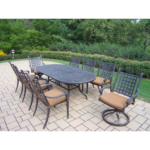 Vandyne Oval 9 Piece Dining Set with Cushions by Darby Home Co