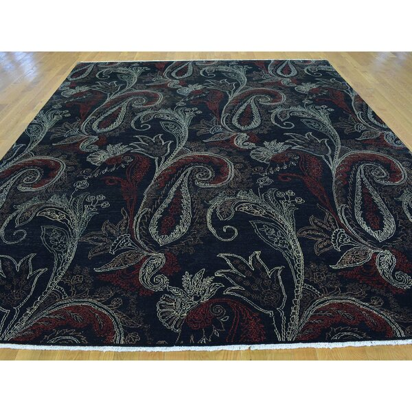 One-of-a-Kind Biggerstaff Tulip Paisley Design Hand-Knotted Black Wool Area Rug by Isabelline