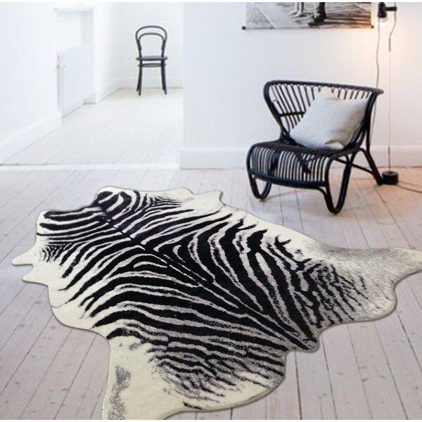 Alegre Faux Zebra Shape Black/White Indoor Area Rug by Bloomsbury Market