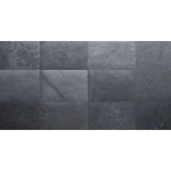 Thin Flexible 16 x 24 Natural Stone Field Tile in Black Slate by Stone Design