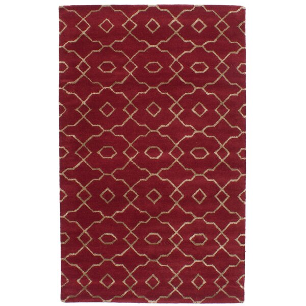 Hartland Hand-Tufted Dark Red Area Rug by Mercer41