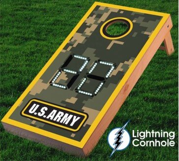 Electronic Scoring Army Camo Cornhole Board by Lightning Cornhole