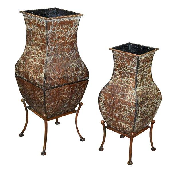 2 Piece Metal Pot Planter Set by Entrada