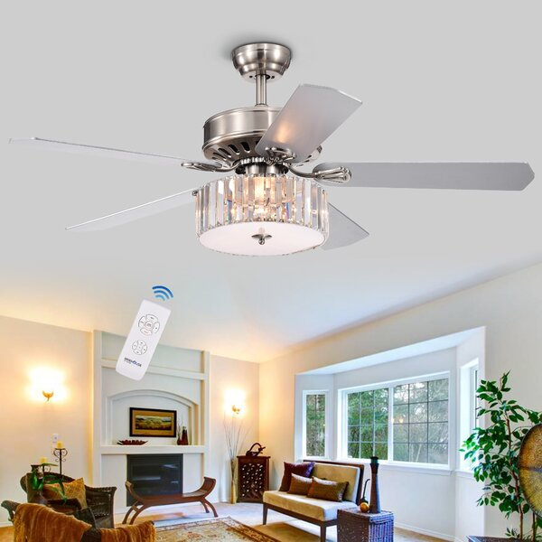 52 Dixie Crystal 3-Light 5 Blade Ceiling Fan by Ho