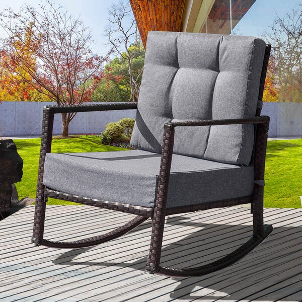 Rattan Rocking Chair with Cushions by Latitude Run