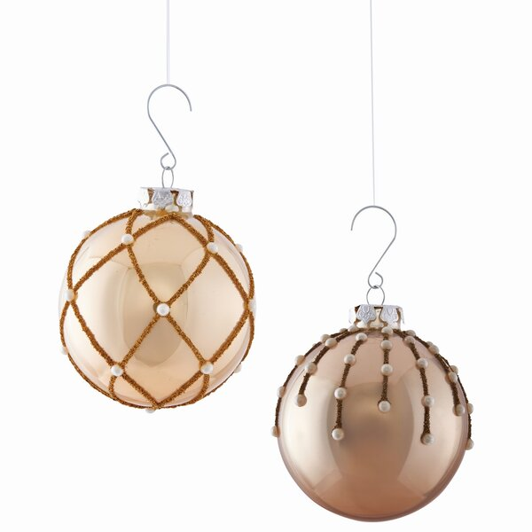 Hanging Glass Beaded Ball Ornament Set (Set of 2) by House of Hampton