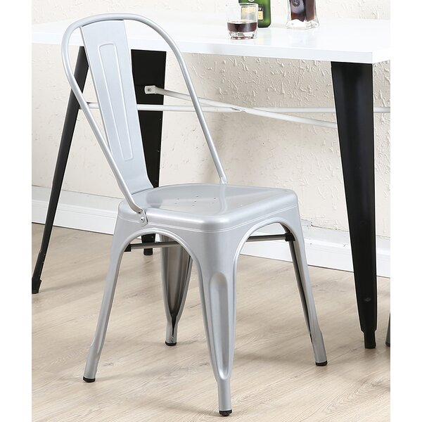 Derrall Modern Vintage Stackable Chic Bistro Cafe Dining Chair (Set of 2) by Ebern Designs