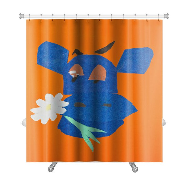 Animals Head of Happy Cow with Flower in Mouth Premium Shower Curtain by Gear New