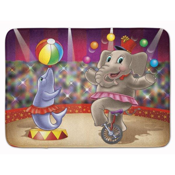 Circus Elephant and Dolphin Rectangle Microfiber Non-Slip Animal Print Bath Rug