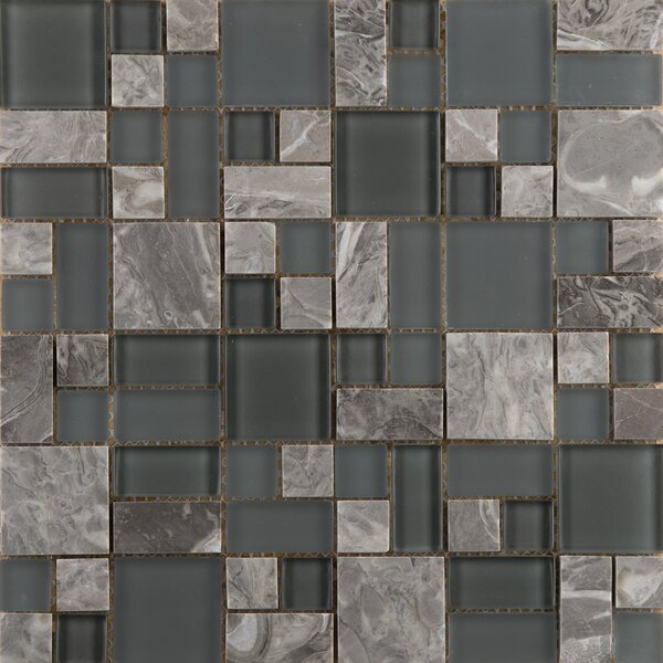 Lucente 13 x 13 Glass Stone Blend Pattern Mosaic Tile in Concordia by Emser Tile