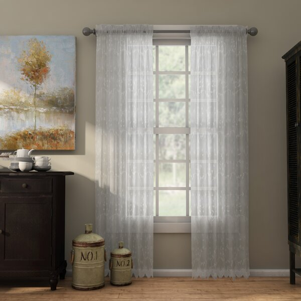 Meriwether Nature/Floral Sheer Rod Pocket Single Curtain Panel by August Grove
